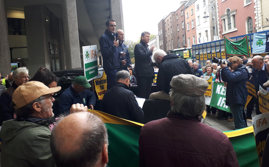 IFA President Joe Healy pictured at today's beef protest. Image: IFA