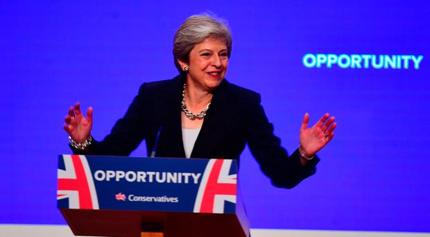 British Prime Minister Theresa May makes her speech at the Conservative Party annual conference: Victoria Jones/PA Wire