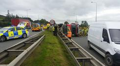 The truck turned over on the N7 Photo: Dublin Fire Brigade