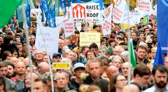People taking part in 'Raise the Roof' housing rally. Molesworth Street, Dublin. Picture: Caroline Quinn