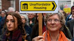 Wrong turn: People protest the housing crisis in a 'Raise the Roof' rally in Dublin. Photo: REUTERS/Clodagh Kilcoyne