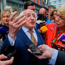President of Ireland Michael D Higgins & his wife Sabina canvassing for votes fOR the upcoming presidential election in Dublins city centre. Photo Gareth Chaney, Collins