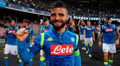 Napoli's Lorenzo Insigne celebrates after the match REUTERS/Alberto Lingria