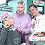 Sugar rush: Amy Byrne with son Dylan Tierney (8) and mother-in-law Phyllis Tierney, at Krispy Kreme. Photo: Damien Eagers