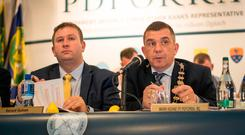 Delay: Pdforra general secretary Gerard Guinan and president Mark Keane, in Castlebar, Co Mayo. Photo: Keith Heneghan