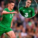 Declan Rice and (inset) UNder 21 team-mate Curtis Byrne