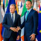 European Council President Donald Tusk, left, and Taoiseach Leo Varadkar (AP Photo/Olivier Matthys)