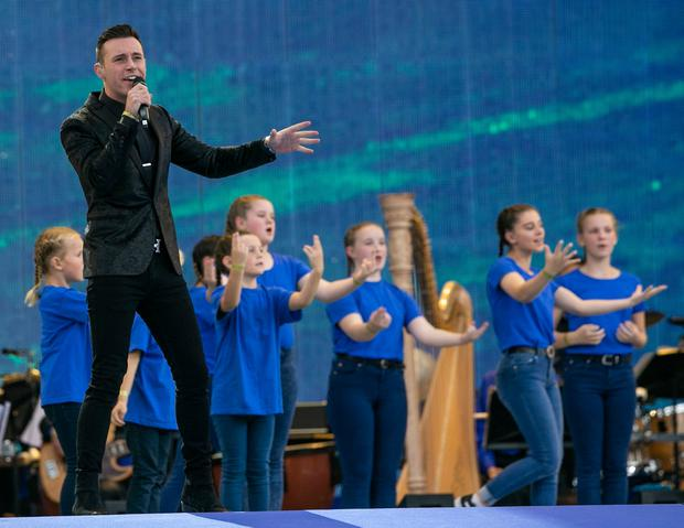 Nathan Carter performing for the Pope in Croke Park in August. Photo: Kyran O'Brien