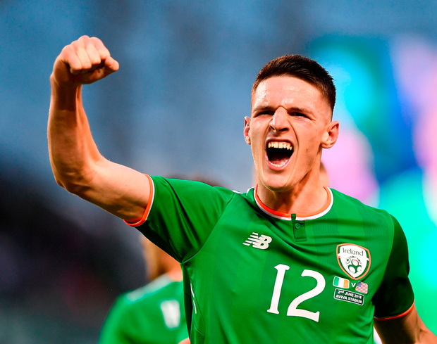 Declan Rice celebrates for Ireland. Photo by Seb Daly/Sportsfile