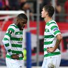 Olivier Ntcham (left) and Mikael Lustig are lost for words after Celtic's defeat by Salzburg in the Europa League. Photo: AP