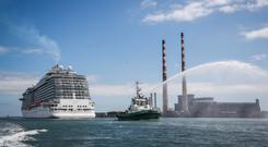 Solution sails in: The 330 metre Royal Princess cruise ship arrives in Dublin last May. But DCC says no cruise ship will be considered as temporary housing for homeless families in Dublin for the time being. Photo: Conor McCabe