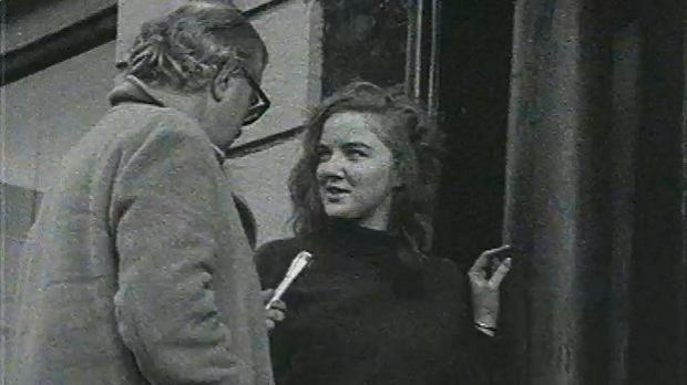 1969 protester/occupier/student Marian Finucane comes out of an occupied house on Stephen's Green in to talk to RTE