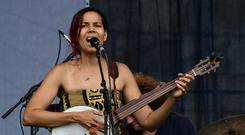 Rhiannon Giddens ( performs with Dirk Powell, Hubby Jenkins, Jason Sypher, and Jamie Dick at the Newport Jazz Festival August 5, 2017 in Newport, Rhode Island. EVA HAMBACH/AFP/Getty Images