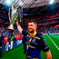 Rob Kearney celebrates with the European Champions Cup after Leinster's final victory over Racing 92 in Bilbao last May. Photo: Ramsey Cardy/Sportsfile