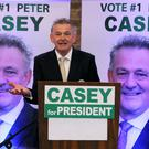 Peter Casey speaking at EPIC centre in Dublin at the official launch of his presidential campaign. Photo: Brian Lawless/PA. Friday October 5, 2018.