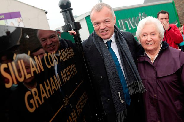 Graham and his mother Rhoda at the official opening of the Graham Norton Riverwalk in his hometown of Bandon, Co Cork