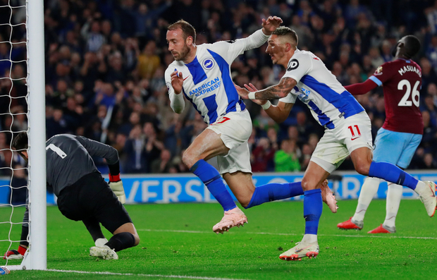 Brighton's Glenn Murray scores the only goal of the game. Photo: Reuters