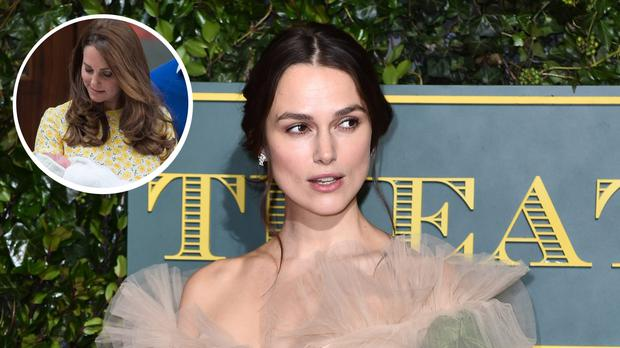 Keira Knightley described her experience of giving birth in searing detail for an essay published in a feminist collection (Matt Crossick/PA Wire) | Inset: Kate Middleton leaving hospital with Princess Charlotte (Anthony Devlin/PA)