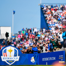 Rory McIlroy plays from the third tee during his Ryder Cup singles match against Justin Thomas. Photo: Sportsfile
