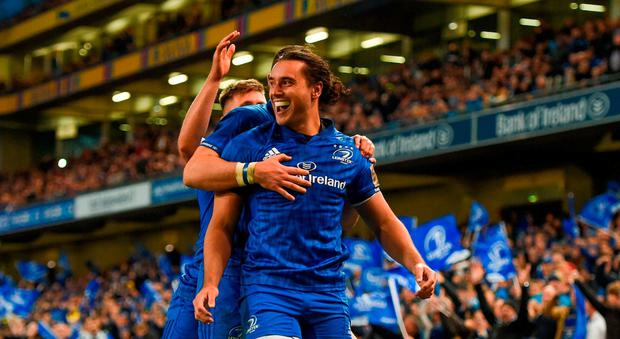 James Lowe of Leinster celebrates scoring his sides third try with team mates during the Guinness PRO14 Round 6 match between Leinster and Munster at Aviva Stadium, in Dublin. Photo by Harry Murphy/Sportsfile