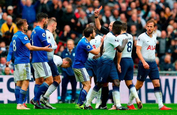 Joe Ralls of Cardiff City receives a red card. Photo: Catherine Ivill/Getty Images