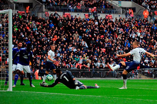Eric Dier of Tottenham Hotspur scores the winning goal. Photo: Marc Atkins/Getty Images
