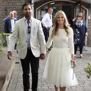 Jasmine and Vivek after their civil ceremony in Dublin | Jasmine wears a Jenny Yoo skirt and jumper from Covet in Dublin