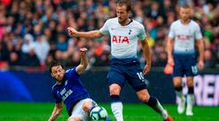 Harry's game: Harry Arter battles it out with Harry Kane during Cardiff's 1-0 defeat by Tottenham at Wembley. Photo: Getty Images