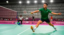Nhat Nguyen on his way to beating Kettiya Keoxay of Laos in the first round of the badminton men's singles at the Youth Olympics in Buenos Aires yesterday. Photo by Eóin Noonan/Sportsfile