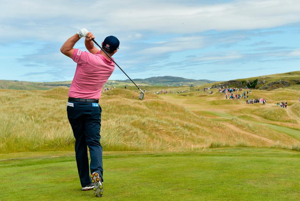 Harrington, pictured earlier this year at Ballyliffin, closed with a three-under 69 to finish tied for seventh on nine-under par at the Old Course and move up to 95th in the Race to Dubai. Photo by Oliver McVeigh/Sportsfile