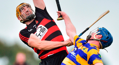 Wayne Hutchinson of Ballygunner in action against Abbeyside's John Hurney during yesterday's Waterford SHC final. Photo by Matt Browne/Sportsfile