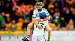 Coolderry captain Kevin Connolly (13) celebrates with team-mate Brian Carroll after the Offaly SHC final. Photo by Piaras Ó Mídheach/Sportsfile