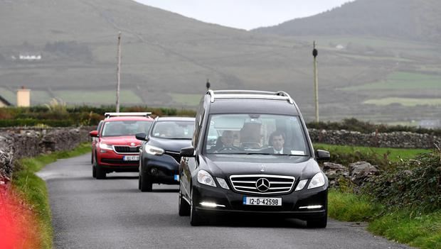 The Coffin of the late Emma Mhic Mhathuna arrived at her home today Photo By Domnick Walsh