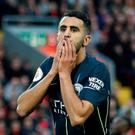 Soccer Football - Premier League - Liverpool v Manchester City - Anfield, Liverpool, Britain - October 7, 2018 Manchester City's Riyad Mahrez reacts after a missed chance Action Images via Reuters/Carl Recine