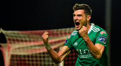 8 October 2018; Graham Cummins of Cork City celebrates after scoring his side's first goal during the Irish Daily Mail FAI Cup Semi-Final Replay match between Cork City and Bohemians at Turners Cross in Cork. Photo by Seb Daly/Sportsfile