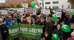 March: Residents of Maplewood in Springfield, Tallaght protest outside South Dublin County Council offices against plans to build on two separate green spaces in the area. Photo: Damien Eagers