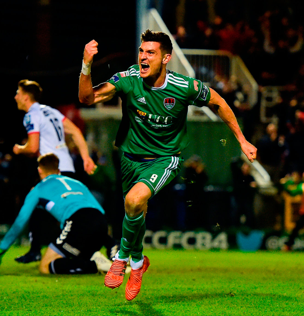 Graham Cummins of Cork City celebrates after scoring his side's first goal. Photo: Seb Daly/Sportsfile