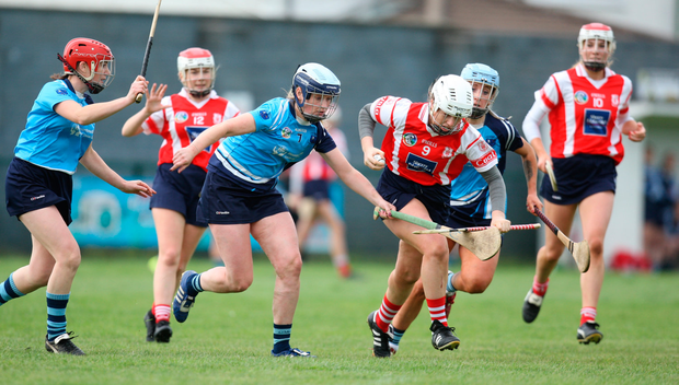 MAKING A BURST: Cuala's Sinéad Wylde in action against Jenny McEvoy of O'Moores Laois during their Leinster Camogie Intermediate Championship preliminary match at Parnells, Coolock on Sunday. Pic: iLivephotos.com