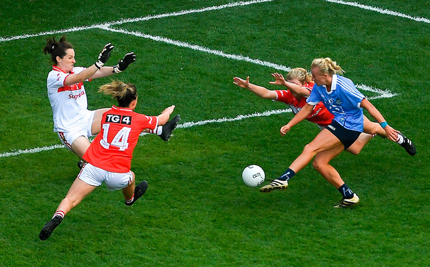 EYE OF A NEEDLE: Dublin's Carla Rowe scores their third goal despite the efforts of Cork players (l-r) Doireann O'Sullivan, Martina O'Brien and Róisín Phelan during the TG4 All-Ireland Ladies SFC final at Croke Park last month. Photo by Piaras Ó Mídheach/Sportsfile