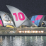 Sydney Opera House lit up with the controversial branding. Photo: AP