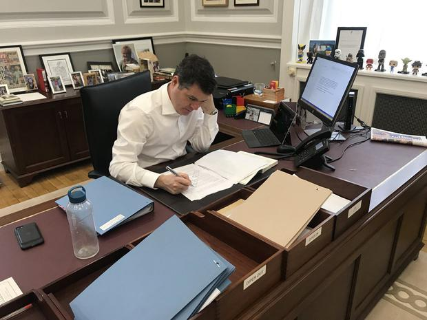 Paschal Donohoe putting the finishing touches to the Budget 2019 speech