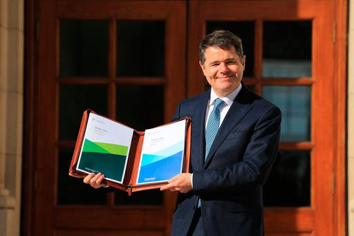 Paschal Donohoe pictured with Budget 2019 (Photo: Gerry Mooney)