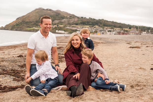Anna Daly with her husband Ben Ward and their three boys James, Euan and Rhys. Picture: Lili Forberg/VIP Magazine