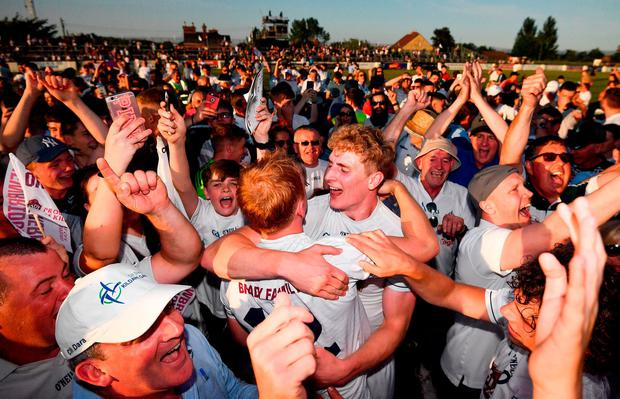 Daniel Flynn and Keith Cribben celebrate after Kildare's victory over Mayo in Newbridge. Photo: Stephen McCarthy/Sportsfile