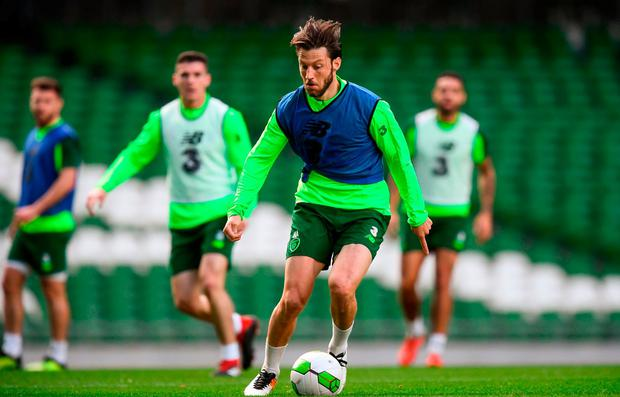 Harry Arter on the ball during a Republic of Ireland training session at the Aviva Stadium in Dublin. Photo: Stephen McCarthy/Sportsfile