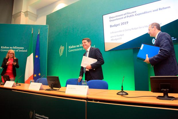 Minister Of Finance Paschal Donohoe addresses the media at Budget 2019 is launched. Photo: Garrett White/Collins Photo Agency