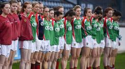 Carnacon players during the national anthem prior to the All-Ireland Ladies Football Intermediate Club Championship Final in 2017. Photo: Seb Daly/Sportsfile