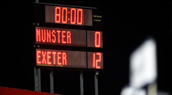 24 August 2018; A general view of the final score on the scoreboard after the Keary's Renault Pre-season Friendly match between Munster and Exeter Chiefs at Irish Independent Park in Cork. Photo by Diarmuid Greene/Sportsfile