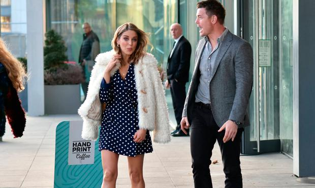 Amy Huberman and Brian O'Driscoll arrive at the premiere of Finding Joy