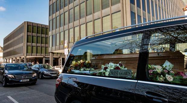 Dept of Health, Baggot St. Dublin. Funeral cortege of Emma Mhic Mhathúna. Photo: Douglas O'Connor.